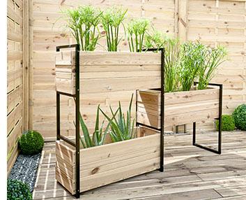 verdeesvida jardineras de hierro y madera
